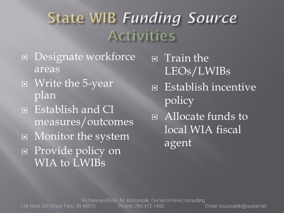  Train the LEOs/LWIBs  Establish incentive policy  Allocate funds to local WIA fiscal agent Richalene (Ricki) M.