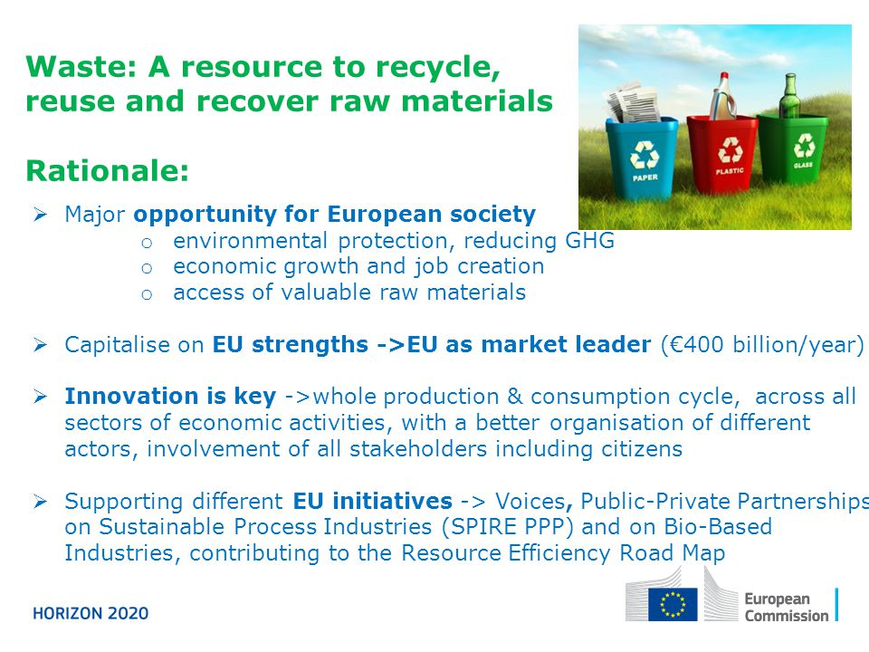 Waste: A resource to recycle, reuse and recover raw materials Rationale:  Major opportunity for European society o environmental protection, reducing GHG o economic growth and job creation o access of valuable raw materials  Capitalise on EU strengths ->EU as market leader (€400 billion/year)  Innovation is key ->whole production & consumption cycle, across all sectors of economic activities, with a better organisation of different actors, involvement of all stakeholders including citizens  Supporting different EU initiatives -> Voices, Public-Private Partnerships on Sustainable Process Industries (SPIRE PPP) and on Bio-Based Industries, contributing to the Resource Efficiency Road Map