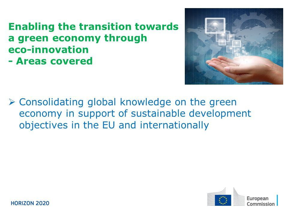 Enabling the transition towards a green economy through eco-innovation - Areas covered  Consolidating global knowledge on the green economy in support of sustainable development objectives in the EU and internationally
