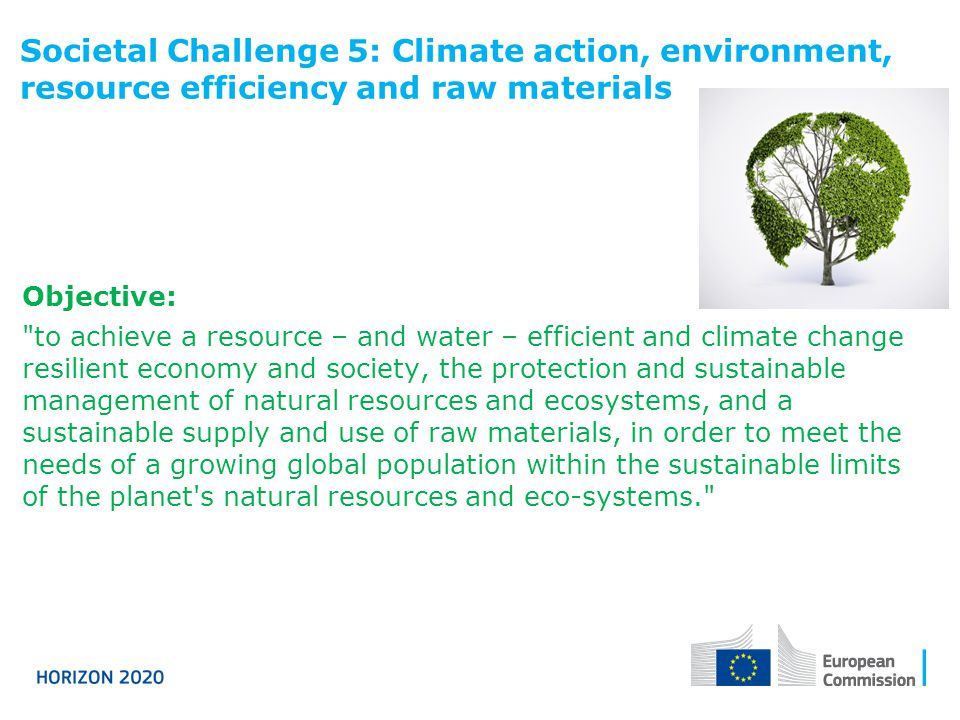 Societal Challenge 5: Climate action, environment, resource efficiency and raw materials Objective: to achieve a resource – and water – efficient and climate change resilient economy and society, the protection and sustainable management of natural resources and ecosystems, and a sustainable supply and use of raw materials, in order to meet the needs of a growing global population within the sustainable limits of the planet s natural resources and eco-systems.