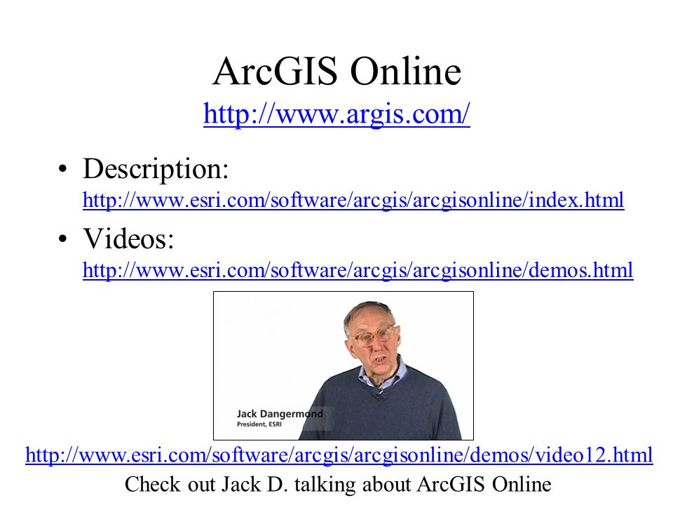ArcGIS Online     Description:     Videos:     Check out Jack D.