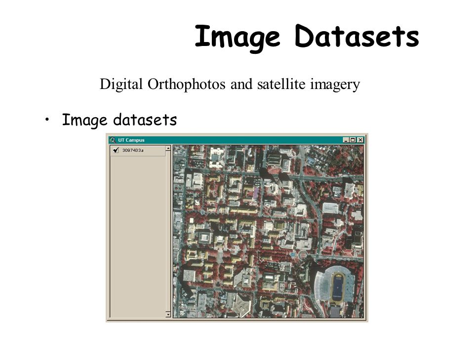 Image Datasets Image datasets Digital Orthophotos and satellite imagery