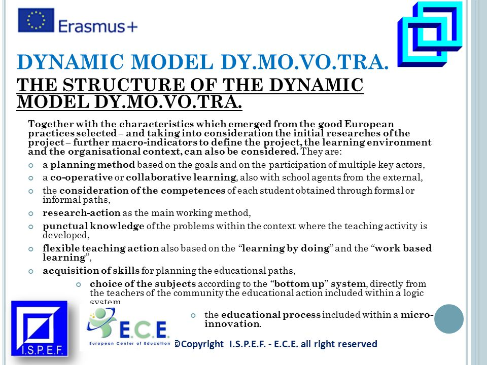 Together with the characteristics which emerged from the good European practices selected – and taking into consideration the initial researches of the project – further macro-indicators to define the project, the learning environment and the organisational context, can also be considered.