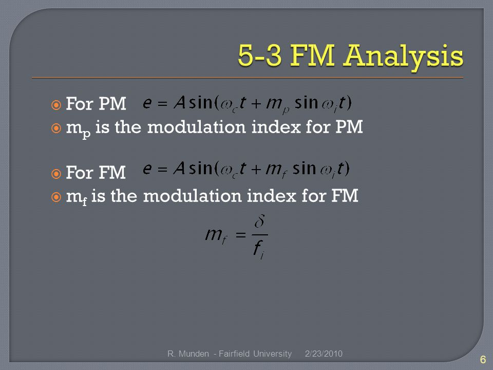  For PM  m p is the modulation index for PM  For FM  m f is the modulation index for FM 2/23/ R.