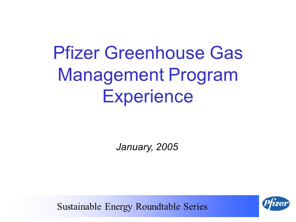 Sustainable Energy Roundtable Series January, 2005 Pfizer Greenhouse Gas Management Program Experience