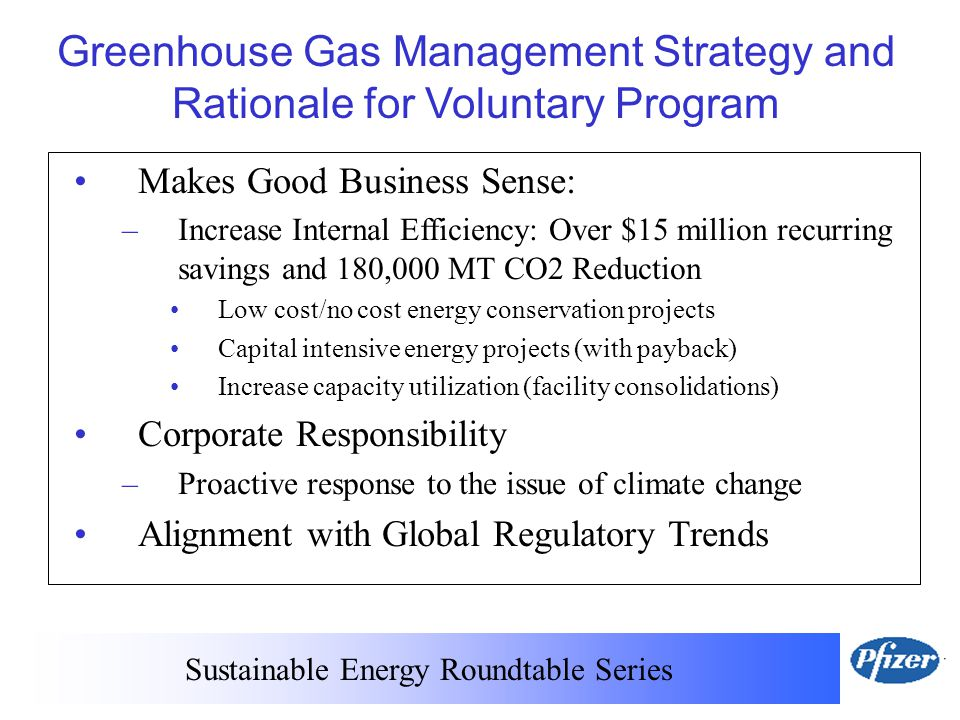 Sustainable Energy Roundtable Series Greenhouse Gas Management Strategy and Rationale for Voluntary Program Makes Good Business Sense: –Increase Internal Efficiency: Over $15 million recurring savings and 180,000 MT CO2 Reduction Low cost/no cost energy conservation projects Capital intensive energy projects (with payback) Increase capacity utilization (facility consolidations) Corporate Responsibility –Proactive response to the issue of climate change Alignment with Global Regulatory Trends