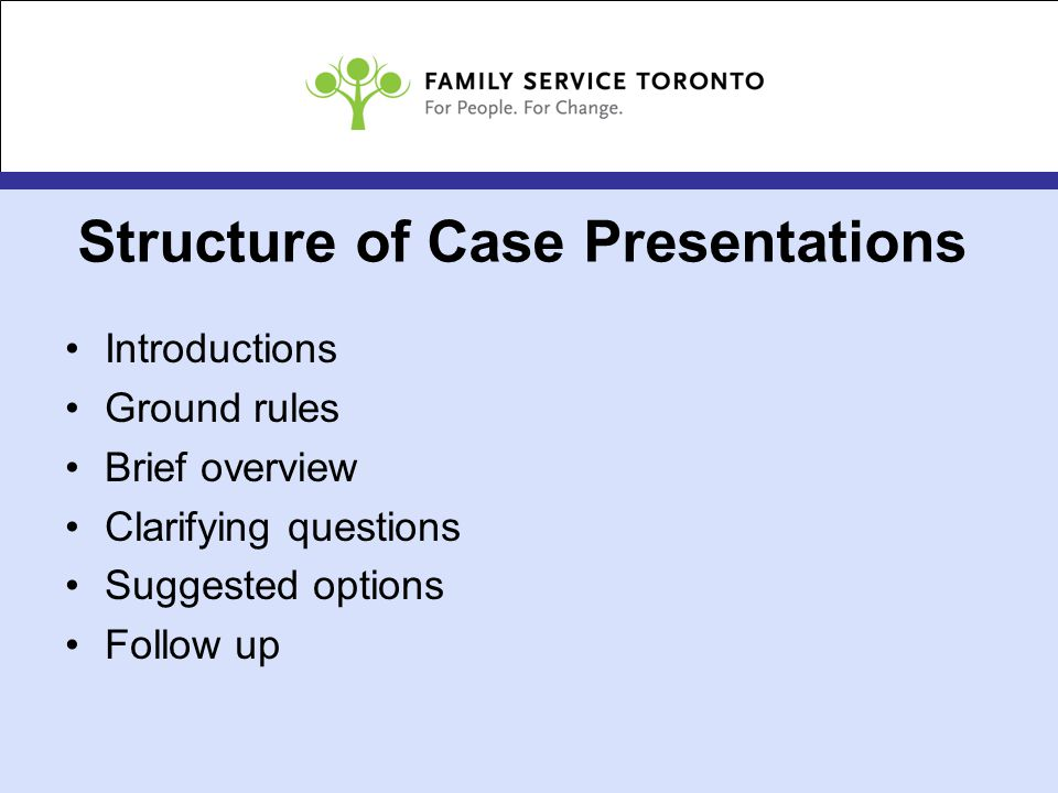 Structure of Case Presentations Introductions Ground rules Brief overview Clarifying questions Suggested options Follow up