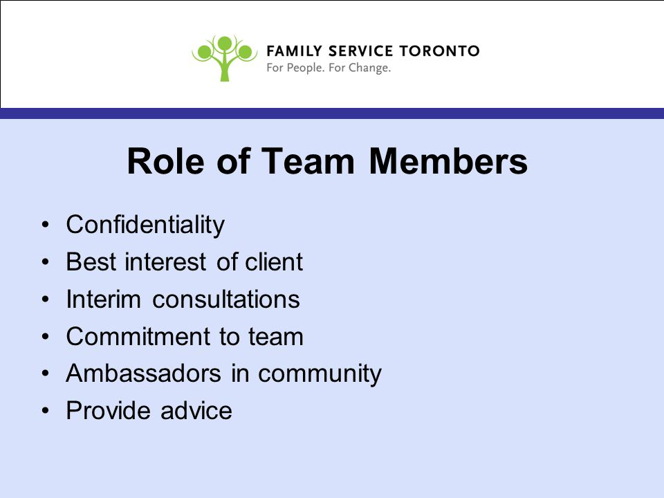 Role of Team Members Confidentiality Best interest of client Interim consultations Commitment to team Ambassadors in community Provide advice