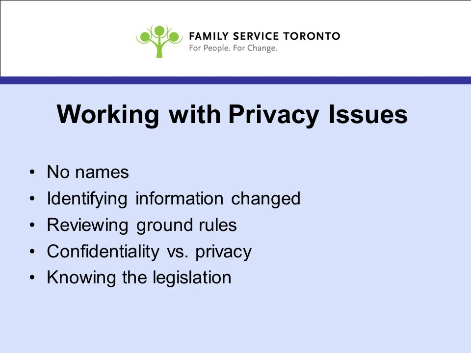 Working with Privacy Issues No names Identifying information changed Reviewing ground rules Confidentiality vs.