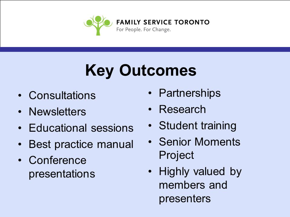 Key Outcomes Consultations Newsletters Educational sessions Best practice manual Conference presentations Partnerships Research Student training Senior Moments Project Highly valued by members and presenters