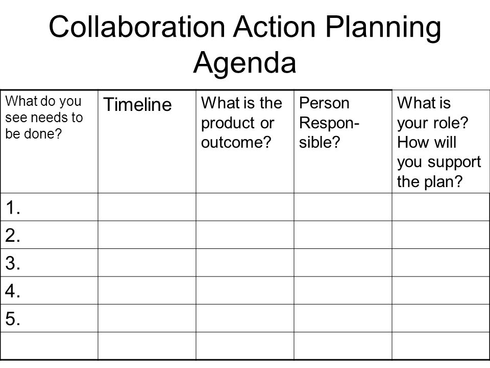 Collaboration Action Planning Agenda What do you see needs to be done.
