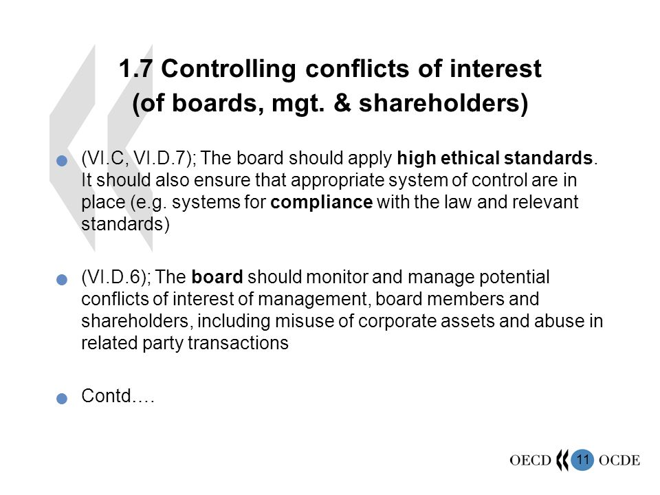 Controlling conflicts of interest (of boards, mgt.
