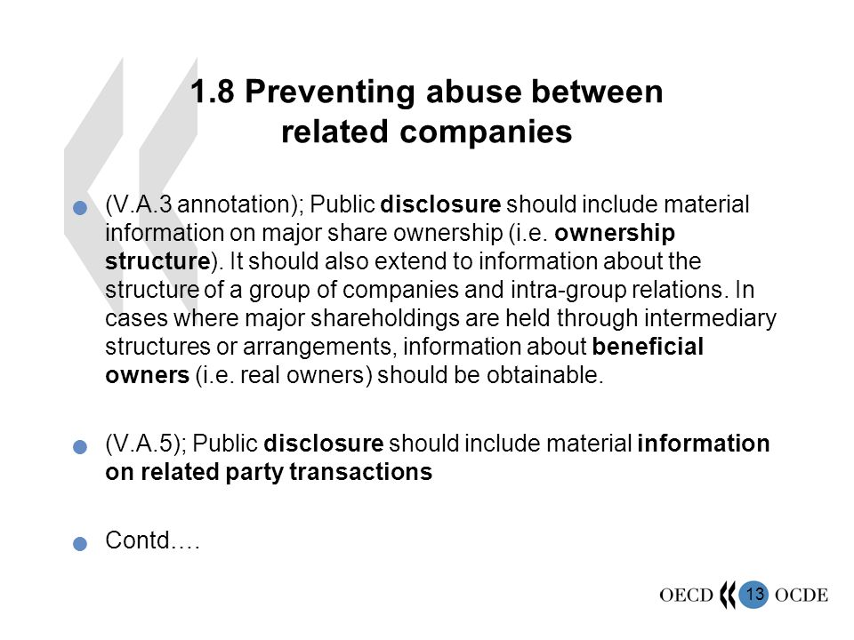 Preventing abuse between related companies (V.A.3 annotation); Public disclosure should include material information on major share ownership (i.e.