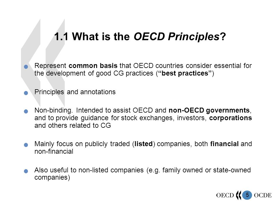 5 Represent common basis that OECD countries consider essential for the development of good CG practices ( best practices ) Principles and annotations Non-binding.