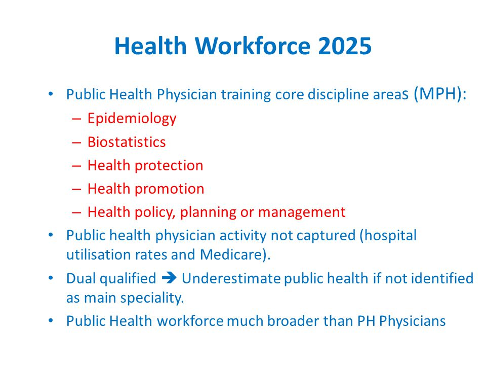Health Workforce 2025 Public Health Physician training core discipline area s (MPH): – Epidemiology – Biostatistics – Health protection – Health promotion – Health policy, planning or management Public health physician activity not captured (hospital utilisation rates and Medicare).
