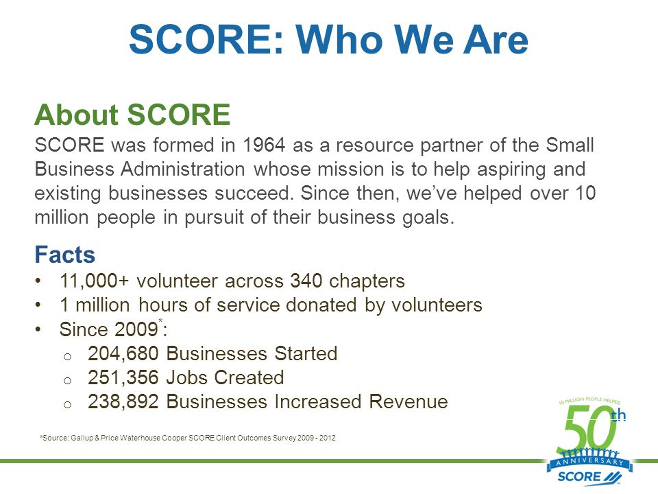 SCORE: Who We Are About SCORE SCORE was formed in 1964 as a resource partner of the Small Business Administration whose mission is to help aspiring and existing businesses succeed.