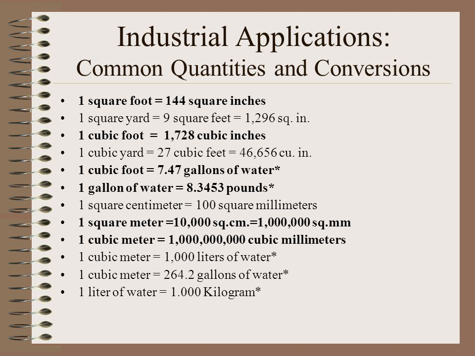 Industrial Applications: Common Quantities and Conversions 1 square foot =  144 square inches 1 square