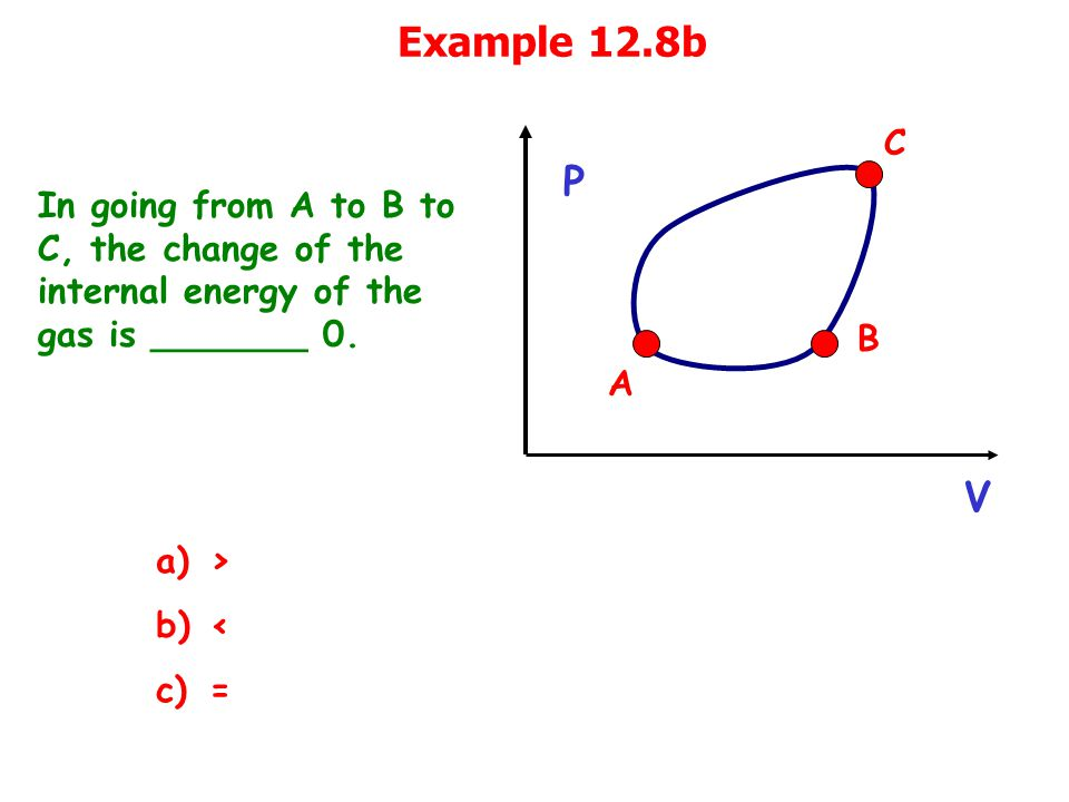Example 12.8b In going from A to B to C, the change of the internal energy of the gas is _______ 0.