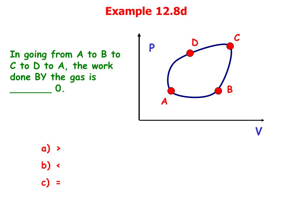 Example 12.8d In going from A to B to C to D to A, the work done BY the gas is _______ 0.