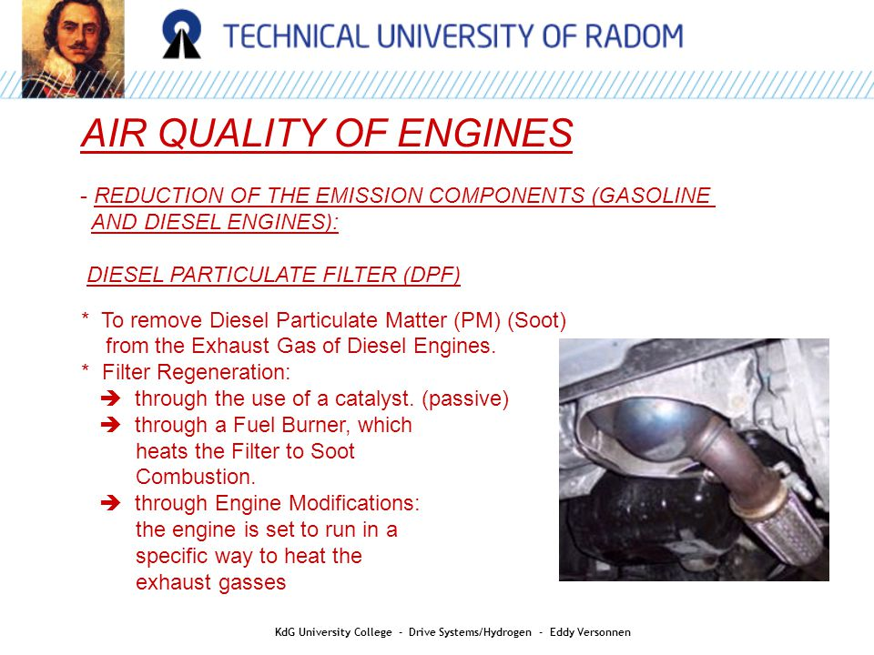 AIR QUALITY OF ENGINES - REDUCTION OF THE EMISSION COMPONENTS (GASOLINE AND DIESEL ENGINES): DIESEL PARTICULATE FILTER (DPF) * To remove Diesel Particulate Matter (PM) (Soot) from the Exhaust Gas of Diesel Engines.