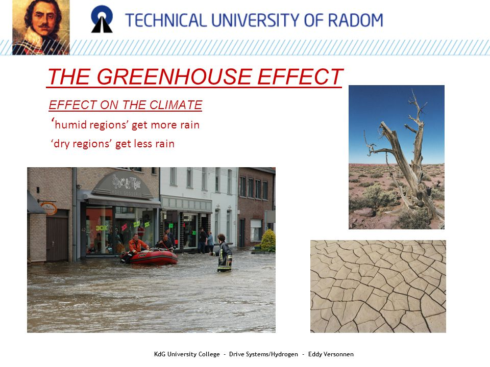 AIR QUALITY THE GREENHOUSE EFFECT KdG University College - Drive Systems/Hydrogen - Eddy Versonnen EFFECT ON THE CLIMATE ' humid regions' get more rain 'dry regions' get less rain