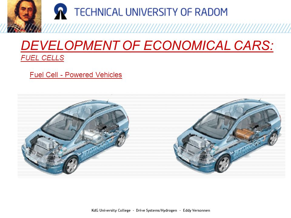 DEVELOPMENT OF ECONOMICAL CARS: FUEL CELLS Fuel Cell - Powered Vehicles KdG University College - Drive Systems/Hydrogen - Eddy Versonnen