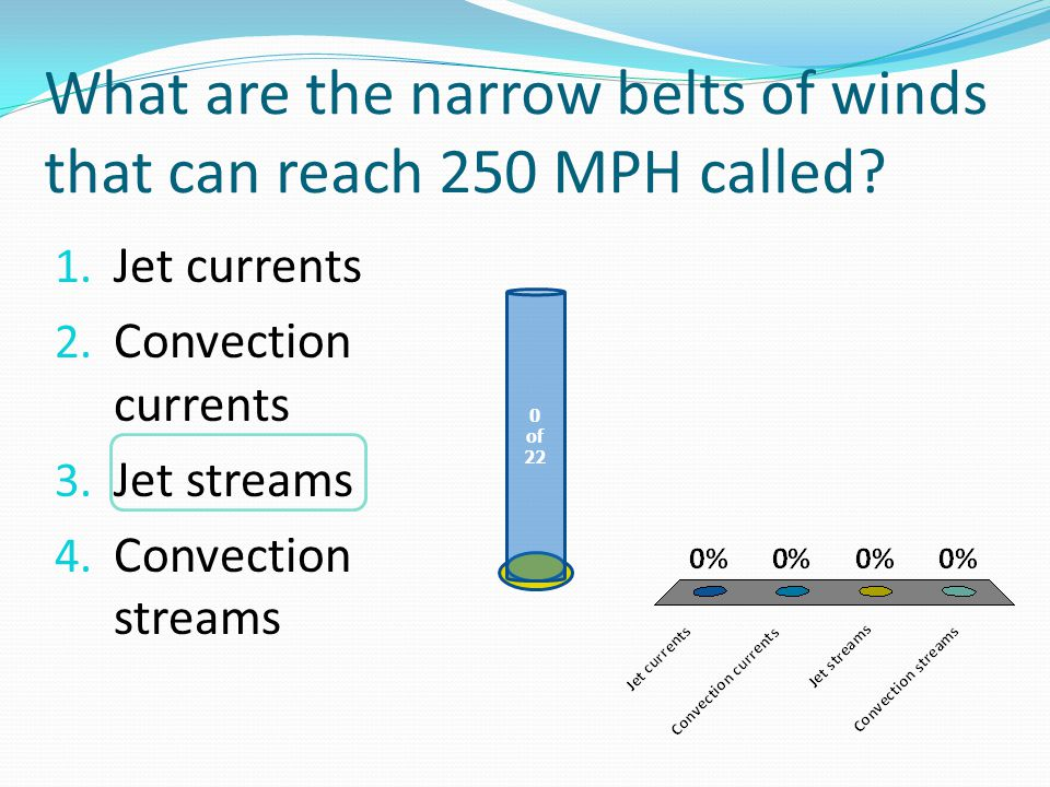 What are the narrow belts of winds that can reach 250 MPH called.