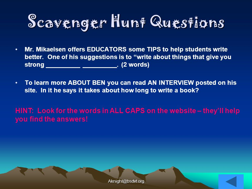Scavenger Hunt Questions Mr.