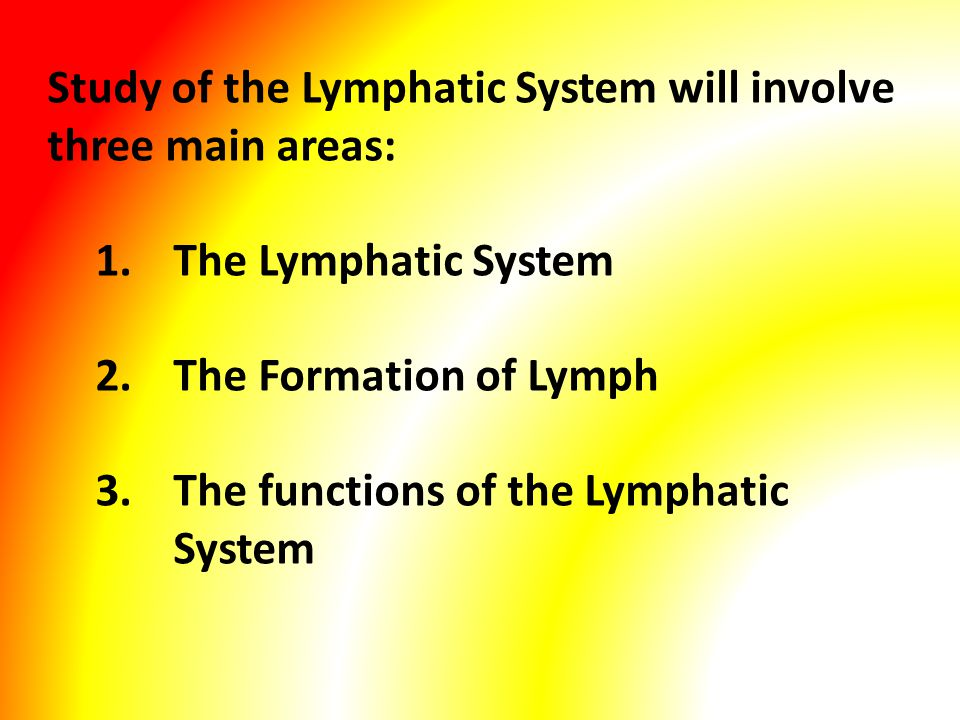 Study of the Lymphatic System will involve three main areas: 1.The Lymphatic System 2.The Formation of Lymph 3.The functions of the Lymphatic System