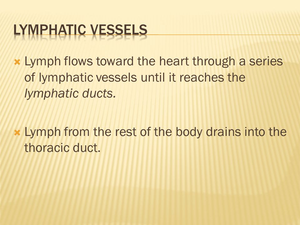  Lymph flows toward the heart through a series of lymphatic vessels until it reaches the lymphatic ducts.