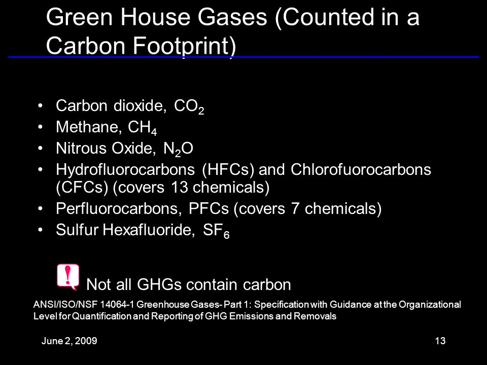Green House Gases (Counted in a Carbon Footprint) Carbon dioxide, CO 2 Methane, CH 4 Nitrous Oxide, N 2 O Hydrofluorocarbons (HFCs) and Chlorofuorocarbons (CFCs) (covers 13 chemicals) Perfluorocarbons, PFCs (covers 7 chemicals) Sulfur Hexafluoride, SF 6 ANSI/ISO/NSF Greenhouse Gases- Part 1: Specification with Guidance at the Organizational Level for Quantification and Reporting of GHG Emissions and Removals Not all GHGs contain carbon June 2,