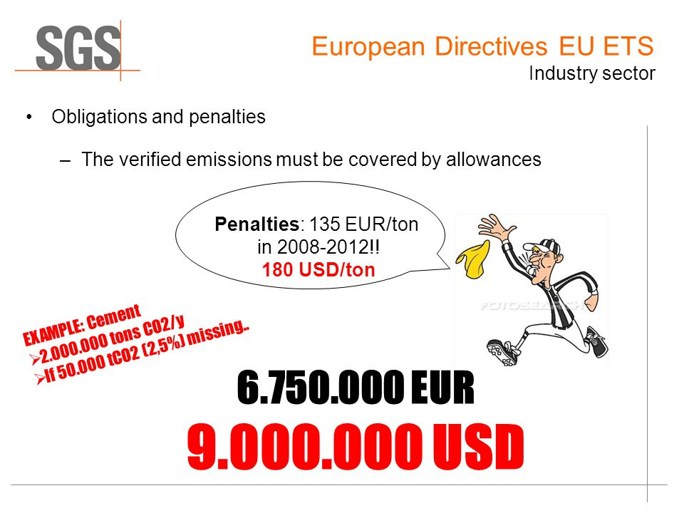 Obligations and penalties –The verified emissions must be covered by allowances EUR USD EXAMPLE: Cement  tons CO2/y  If tCO2 (2,5%) missing..