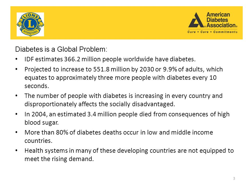 Diabetes Association Diabetes and Outreach Pilot Outreach Pilot Program Diabetes is a Global Problem: IDF estimates million people worldwide have diabetes.