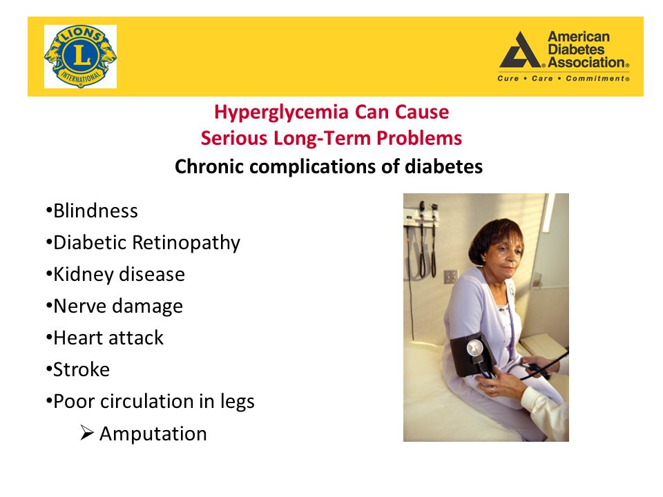 Hyperglycemia Can Cause Serious Long-Term Problems Blindness Diabetic Retinopathy Kidney disease Nerve damage Heart attack Stroke Poor circulation in legs  Amputation Chronic complications of diabetes