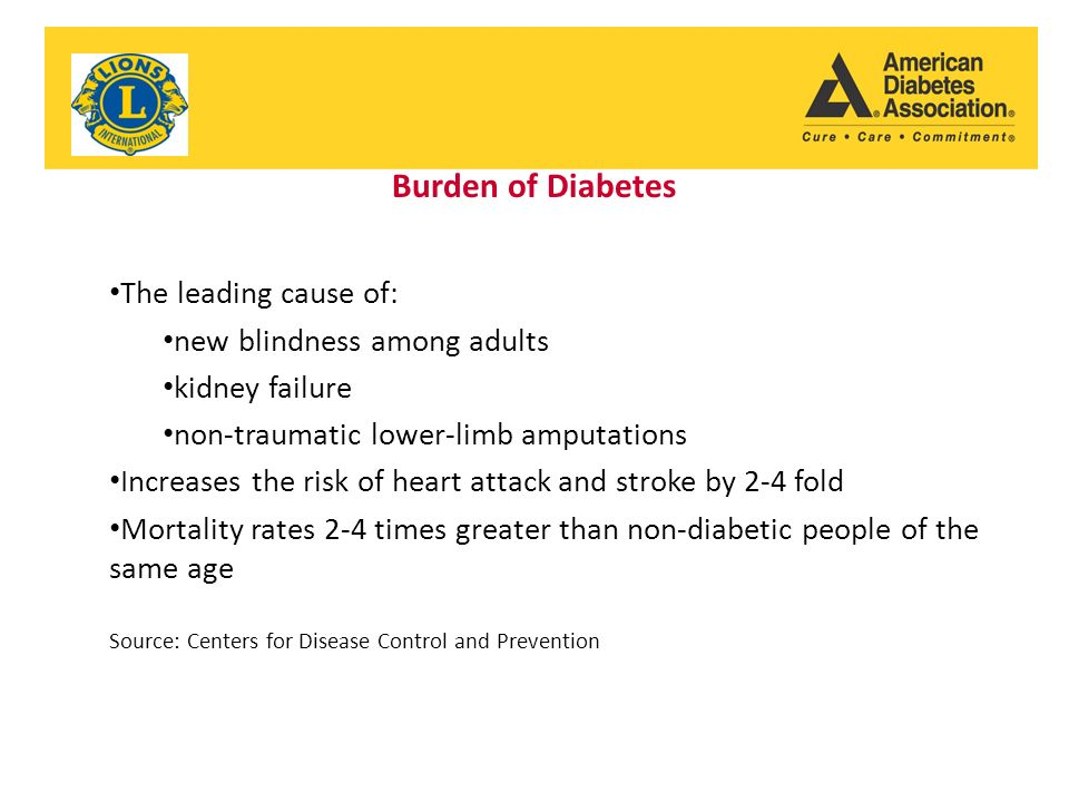Burden of Diabetes The leading cause of: new blindness among adults kidney failure non-traumatic lower-limb amputations Increases the risk of heart attack and stroke by 2-4 fold Mortality rates 2-4 times greater than non-diabetic people of the same age Source: Centers for Disease Control and Prevention