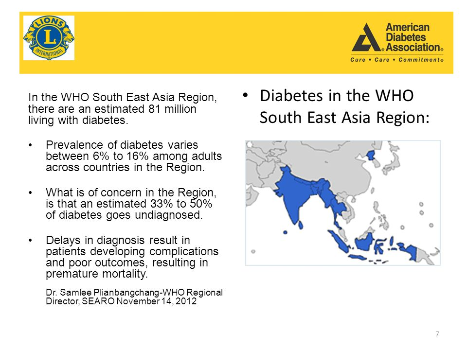 In the WHO South East Asia Region, there are an estimated 81 million living with diabetes.