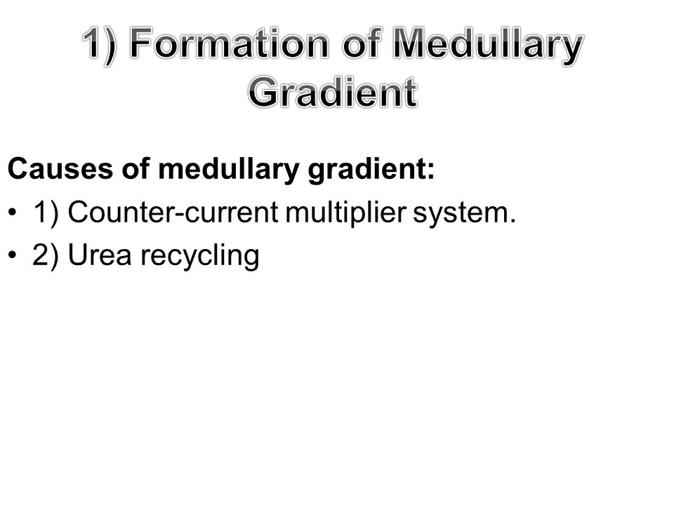Causes of medullary gradient: 1) Counter-current multiplier system. 2) Urea recycling