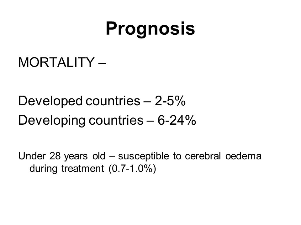 Prognosis MORTALITY – Developed countries – 2-5% Developing countries – 6-24% Under 28 years old – susceptible to cerebral oedema during treatment ( %)