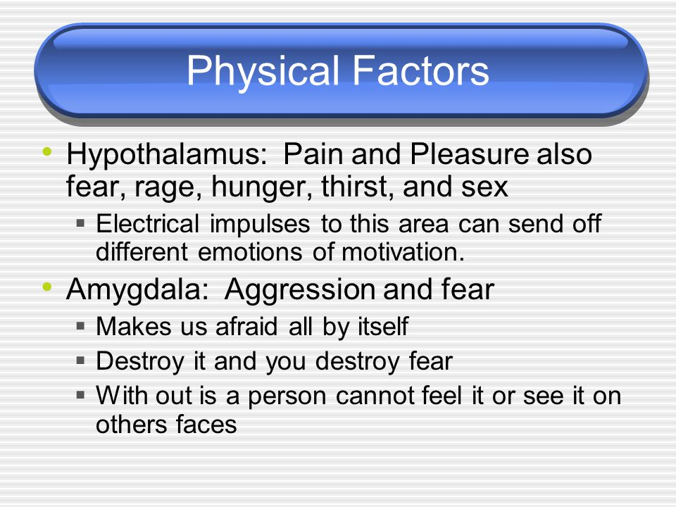 Physical Factors Hypothalamus: Pain and Pleasure also fear, rage, hunger, thirst, and sex  Electrical impulses to this area can send off different emotions of motivation.