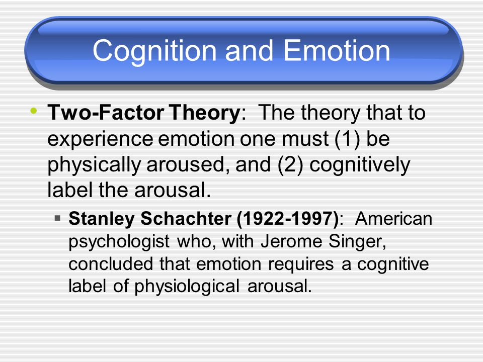 Cognition and Emotion Two-Factor Theory: The theory that to experience emotion one must (1) be physically aroused, and (2) cognitively label the arousal.
