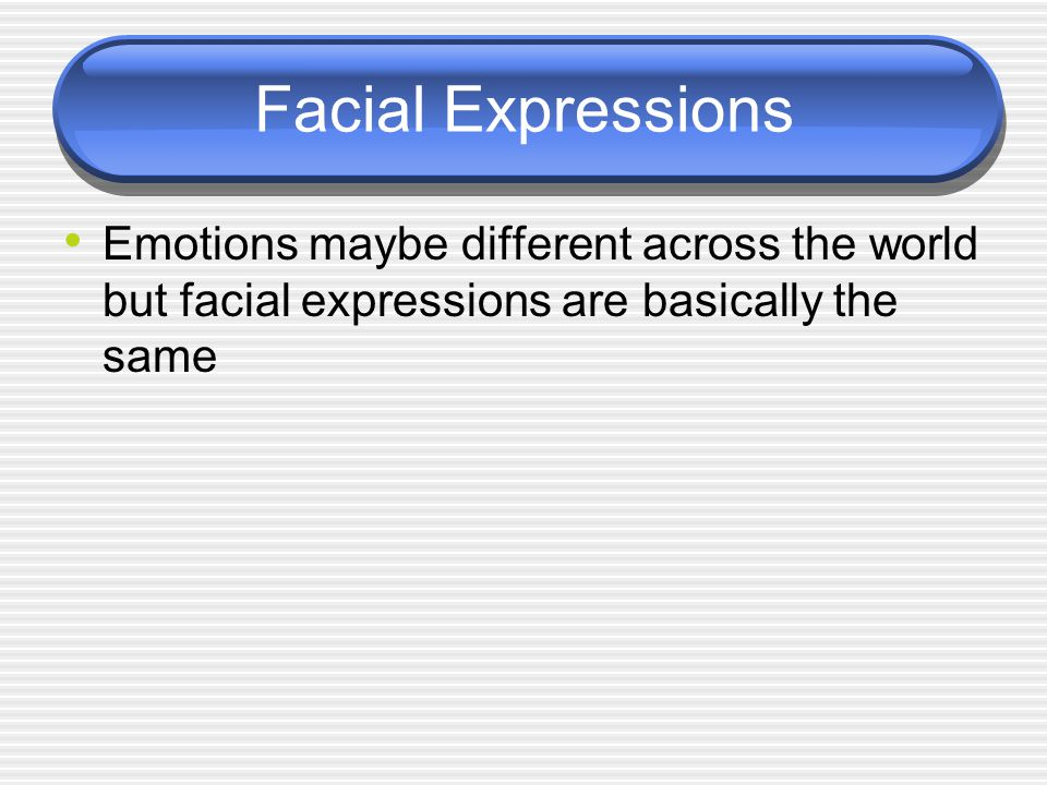 Facial Expressions Emotions maybe different across the world but facial expressions are basically the same