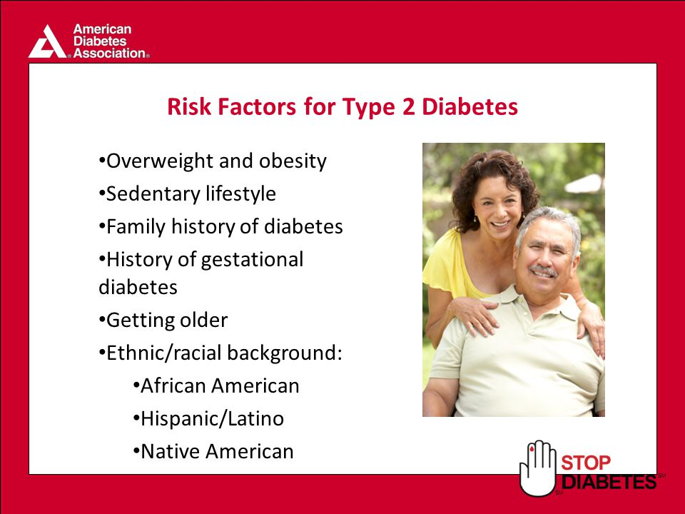 SM Risk Factors for Type 2 Diabetes Overweight and obesity Sedentary lifestyle Family history of diabetes History of gestational diabetes Getting older Ethnic/racial background: African American Hispanic/Latino Native American