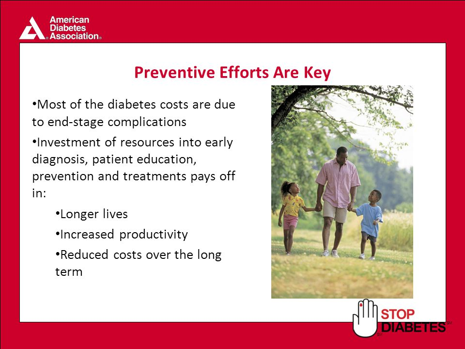 SM Preventive Efforts Are Key Most of the diabetes costs are due to end-stage complications Investment of resources into early diagnosis, patient education, prevention and treatments pays off in: Longer lives Increased productivity Reduced costs over the long term