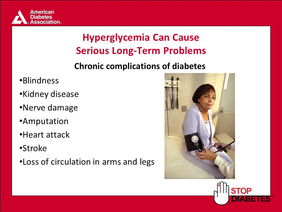 SM Hyperglycemia Can Cause Serious Long-Term Problems Blindness Kidney disease Nerve damage Amputation Heart attack Stroke Loss of circulation in arms and legs Chronic complications of diabetes