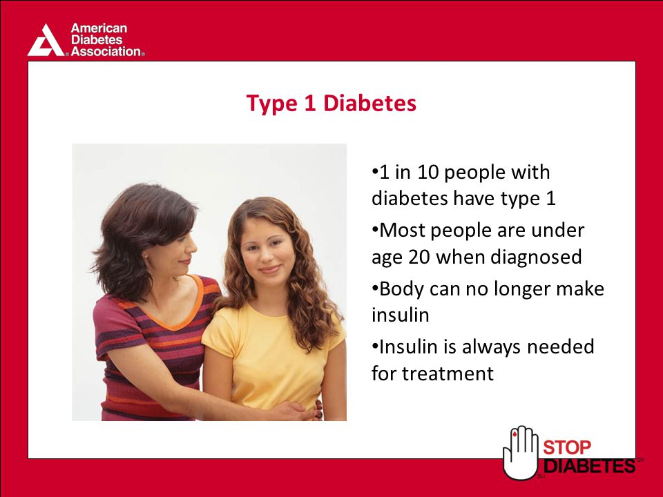SM Type 1 Diabetes 1 in 10 people with diabetes have type 1 Most people are under age 20 when diagnosed Body can no longer make insulin Insulin is always needed for treatment