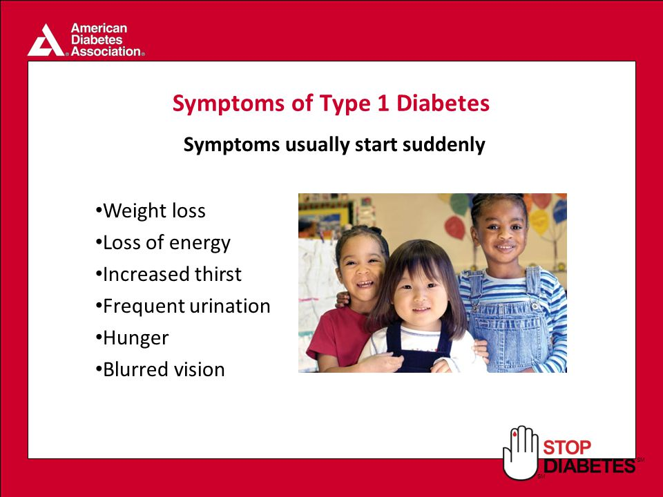 SM Symptoms of Type 1 Diabetes Weight loss Loss of energy Increased thirst Frequent urination Hunger Blurred vision Symptoms usually start suddenly