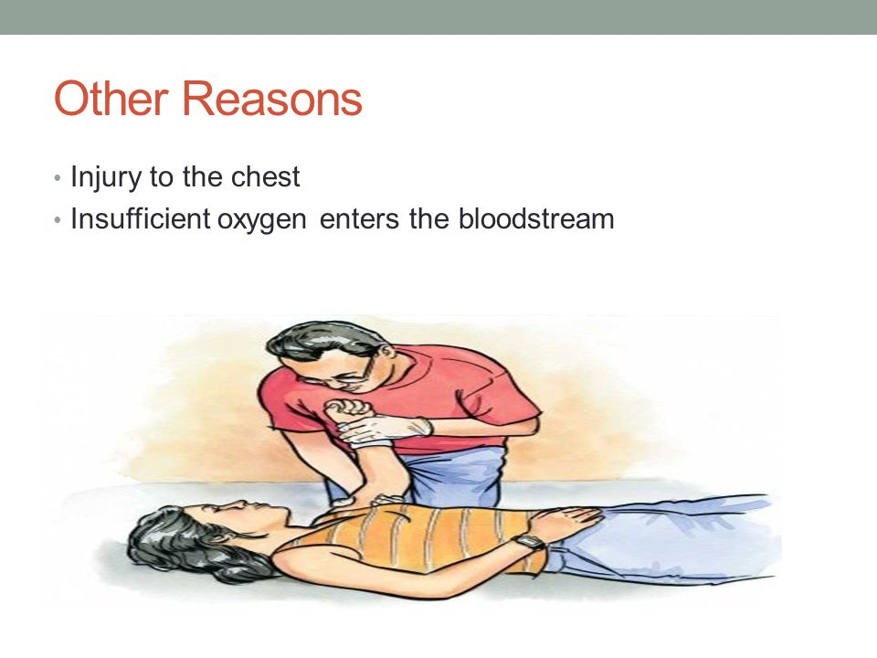 Other Reasons Injury to the chest Insufficient oxygen enters the bloodstream