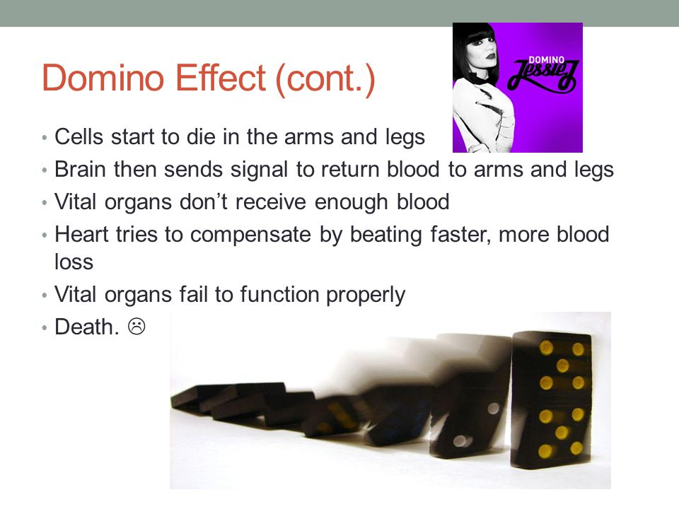 Domino Effect (cont.) Cells start to die in the arms and legs Brain then sends signal to return blood to arms and legs Vital organs don't receive enough blood Heart tries to compensate by beating faster, more blood loss Vital organs fail to function properly Death.