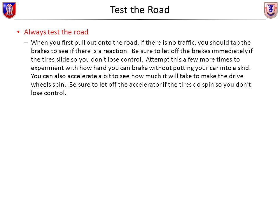 First Rock Driver's Training Winter Driving  Test the Road