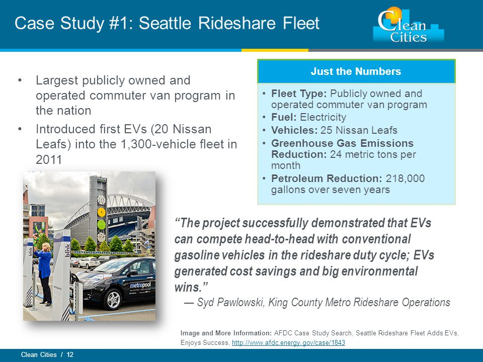 Clean Cities / 12 Case Study #1: Seattle Rideshare Fleet Just the Numbers Fleet Type: Publicly owned and operated commuter van program Fuel: Electricity Vehicles: 25 Nissan Leafs Greenhouse Gas Emissions Reduction: 24 metric tons per month Petroleum Reduction: 218,000 gallons over seven years Largest publicly owned and operated commuter van program in the nation Introduced first EVs (20 Nissan Leafs) into the 1,300-vehicle fleet in 2011 Image and More Information: AFDC Case Study Search, Seattle Rideshare Fleet Adds EVs, Enjoys Success,   The project successfully demonstrated that EVs can compete head-to-head with conventional gasoline vehicles in the rideshare duty cycle; EVs generated cost savings and big environmental wins. — Syd Pawlowski, King County Metro Rideshare Operations